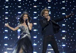 Chanee and N'evergreen from Denmark perform their song In A Moment Like This during a dress rehearsal for semi-final two of the Eurovision Song Contest in Oslo